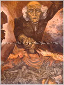 Mural by Jose Clemente Orozco in the Government Palace of Guadalajara, Mexico