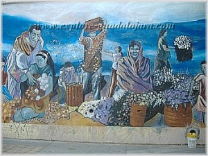 Mexican wall murals by unknown artist outside of Mezquitan cemetery in Guadalajara, Mexico