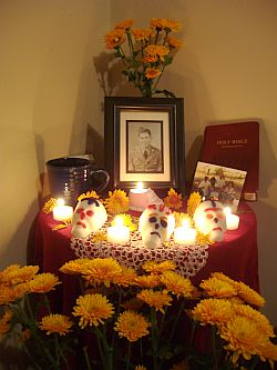 My Day of the Dead altar for my grandparents