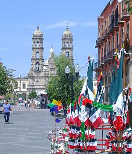 Zapopan Cathedral with Mexican Flags