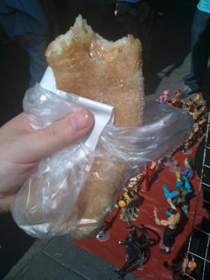 My first churro from the cart near San Juan de Dios