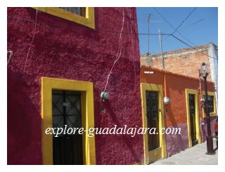 Bright colored buildings in Mexico
