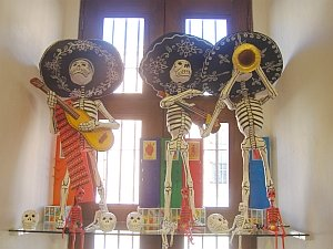 Paper mache Mariachi skeletons